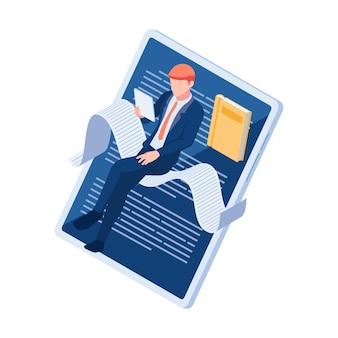 Plat 3d isométrique businessman reading book avec tablette numérique. e-book et concept d'éducation en ligne.