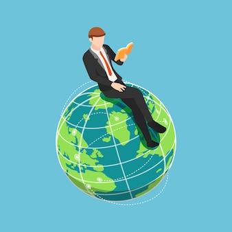 Plat 3d isométrique homme d'affaires assis et lisant un livre sur le monde. concept d'éducation internationale et mondiale.