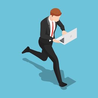 Plat 3d isométrique homme d'affaires travaillant sur ordinateur portable en marchant. concept de date limite et d'heure de pointe