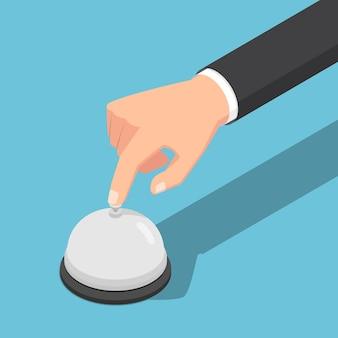 Plat 3d isométrique main d'homme d'affaires sonnant la cloche de service. aide aux entreprises ou concept de service client.