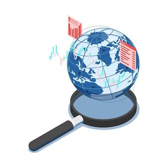 Plat 3d monde isométrique avec tableau financier sur loupe. concept de recherche et d'analyse des affaires mondiales.