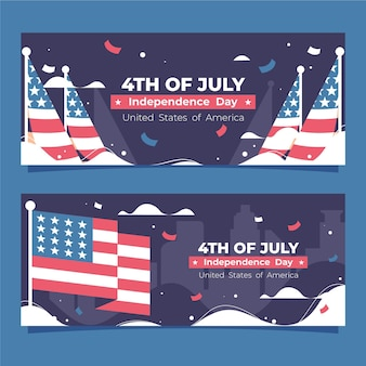 Plat 4 juillet - jeu de bannières de la fête de l'indépendance