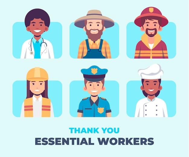 Plat bio merci collection de travailleurs essentiels