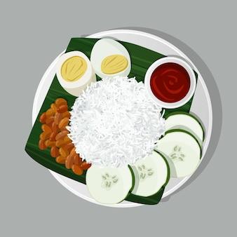 Plat bio nasi lemak illustré