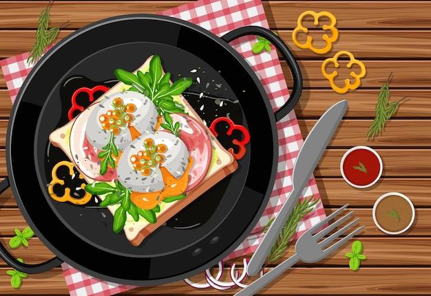 Plat de brunch ou de petit-déjeuner en style dessin animé sur la table