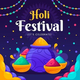 Plat Coloré Holi Gulal Vecteur gratuit