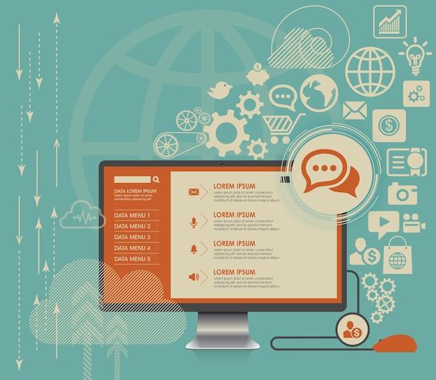 Plat computing fond avec des icônes de médias sociaux