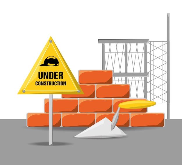 Plat en construction avertissement avec brique