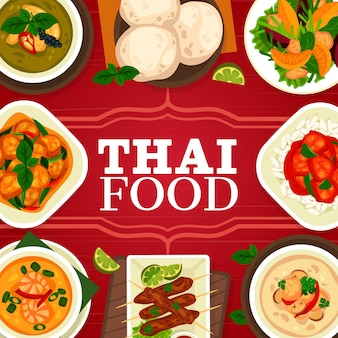 Plat de cuisine thaïlandaise, couverture de menu de repas de restaurant