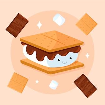 Plat délicieux s'more set illustration