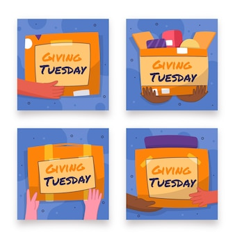Plat dessiné à la main donnant la collection de publications instagram du mardi