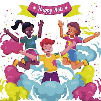 Plat détaillé holi gulal coloré avec des gens