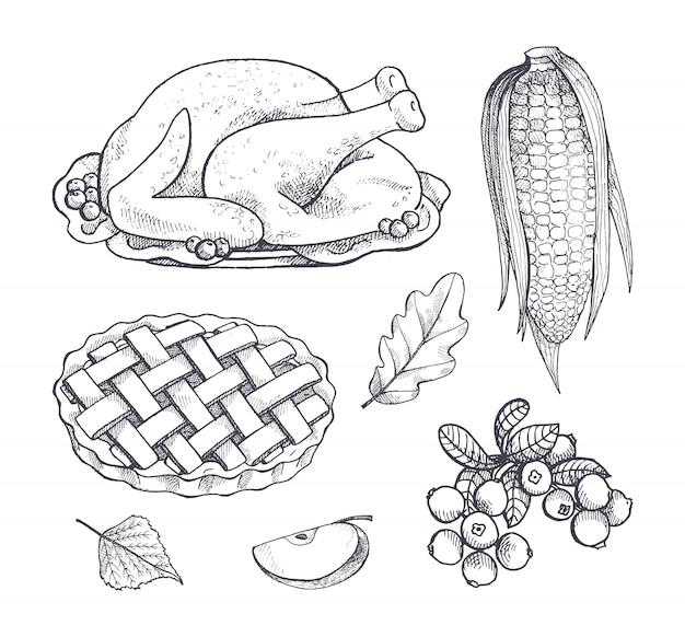 Plat de dinde et icônes de maïs isolé