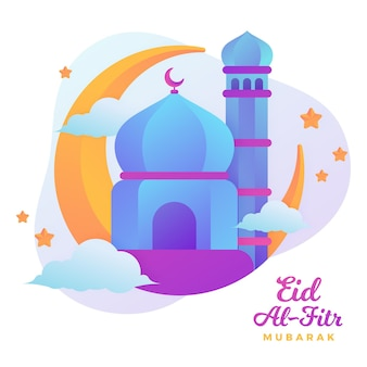 Plat Eid Al-fitr - Illustration De L'eid Mubarak Vecteur gratuit
