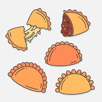 Plat d'empanada avec collection de sauces