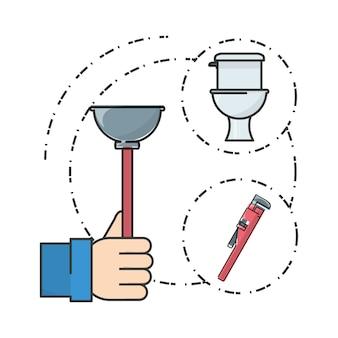 Plat ensemble salle de bains et outils de plomberie