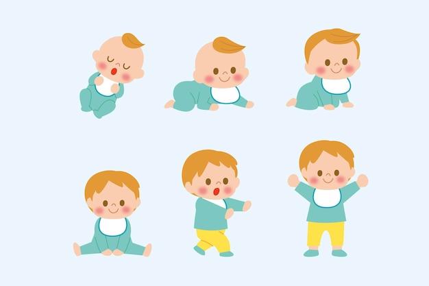 Plat étapes d'un petit garçon