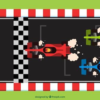 Plat f1 voitures de course traversant la ligne d'arrivée