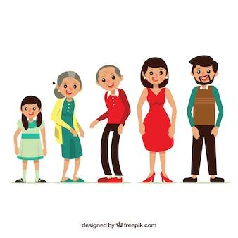 Plat famille heureuse avec grands-parents