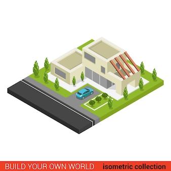 Plat d isométrique créatif moderne élégant bloc de construction de stationnement de voiture de maison familiale
