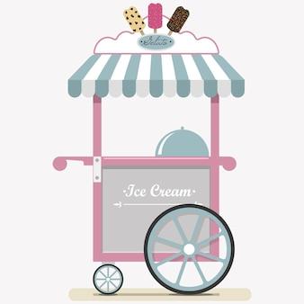 Plat mignon chariot de crème glacée illustration vectorielle point de vente de crème glacée