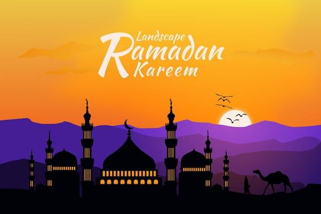 Plat mosquée paysage ramadan kareem coucher de soleil montagne