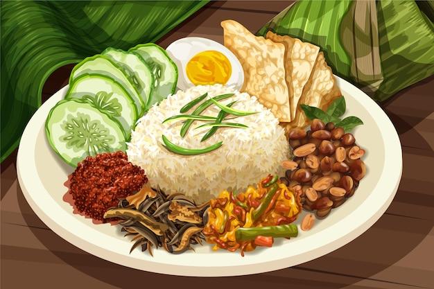 Plat nasi lemak détaillé