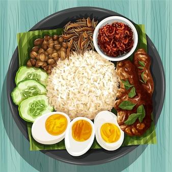 Plat nasi lemak réaliste détaillé
