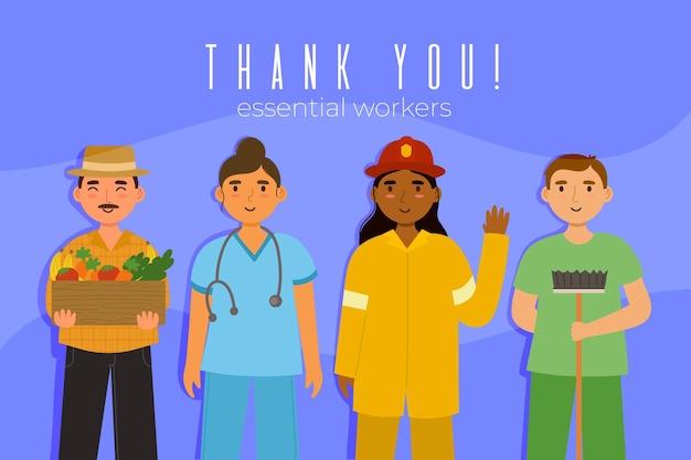 Plat organique merci illustration des travailleurs essentiels