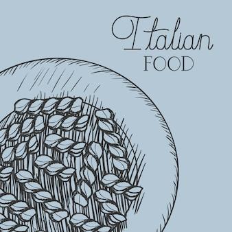 Plat avec des pâtes italiennes dessinées