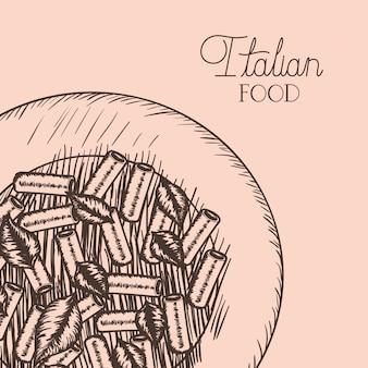 Plat avec des pâtes italiennes tortiglioni dessinés