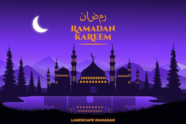 Plat ramadan kareem paysage palmier montagne lac beau ciel