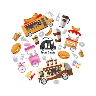 Plat de rue avec illustration de la nourriture