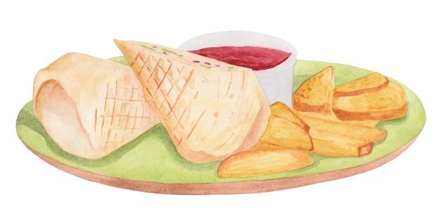 Plat avec sauce aux pommes de terre et aquarelle shaverma