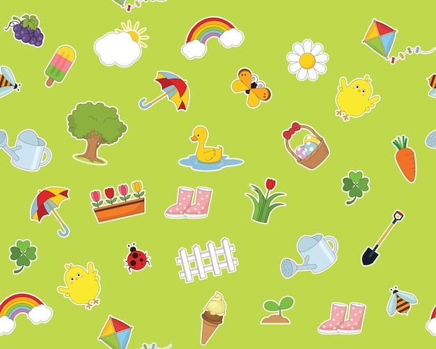 Plat, seamless, texture, modèle, heureux, printemps