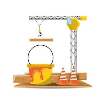 Plat uncer construction grue seau et cône