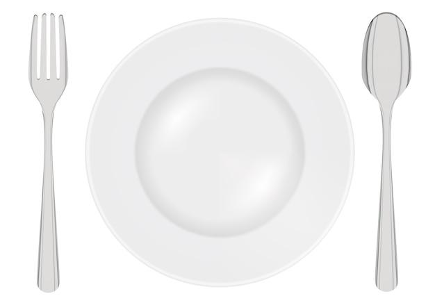 Plat vide avec fourchette en acier et cuillère