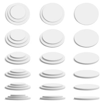 Plate-forme de cylindre. scène de stand rond réaliste, podium géométrique vide, jeu d'illustration de plate-forme de présentation de cylindre. socle réaliste vide de cylindre, présentation géométrique