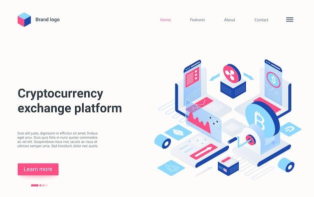 Plate-forme d'échange de devises crypto page de destination isométrique technologie de crypto-monnaie