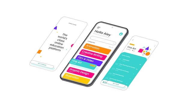 Plate-forme d'éducation en ligne interface utilisateur mobile d'illustration vectorielle 3d isométrique, adaptée aux bannières web, aux diagrammes, aux infographies, aux illustrations de livres, aux actifs de jeu et à d'autres actifs graphiques
