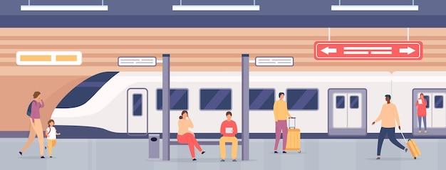 Plate-forme de métro avec des gens. passagers à la station de métro en attente de train. transport ferroviaire public souterrain de la ville, concept de vecteur plat. illustration personnes transport de banlieue par chemin de fer