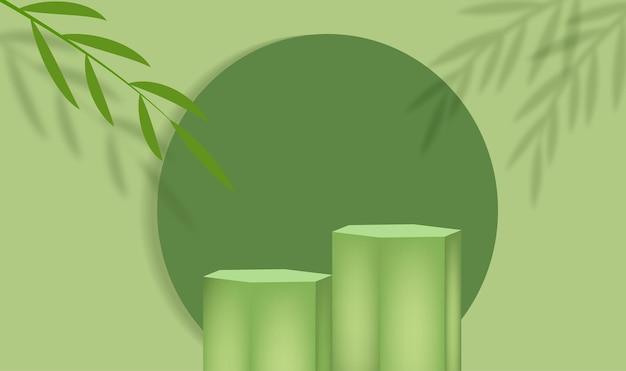 Plate-forme de scène de présentation de produits verts avec des feuilles