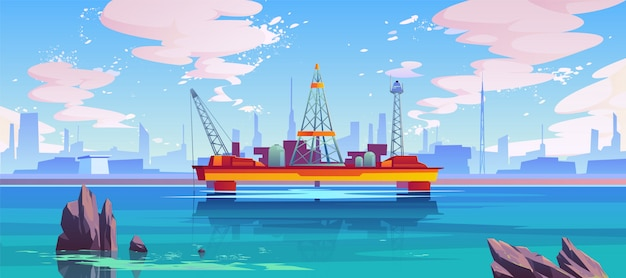 Plate-forme semi-submersible sur la mer