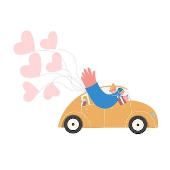Plate illustration vectorielle. coffrets-cadeaux et ballons de livraison par courrier en voiture rétro.