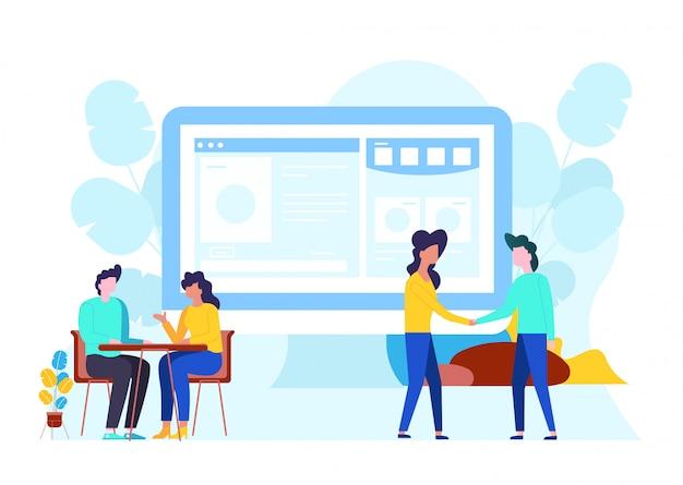 Plate illustration vectorielle de la communication en ligne.