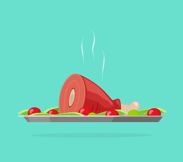 Plateau d'argent avec illustration de dîner ou de déjeuner de viande cuite chaude