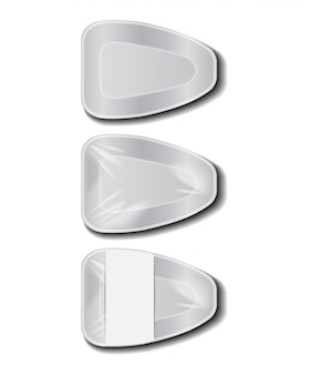 Plateau blanc en plastique alimentaire avec étiquette blanche. stockage des aliments en polystyrène. récipient de repas en mousse, boîte vide pour la nourriture. vue de dessus