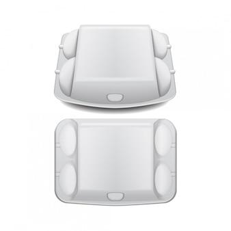Plateau de boîte pour oeufs maquette modèle vectoriel, récipient à clapet vide blanc.