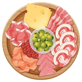Plateau de diverses charcuteries et fromages isolés sur fond blanc