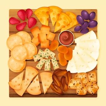 Plateau de fromages aquarelle illustré